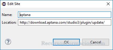 Pantalla para añadir nuevos repositorios en Eclipse. Se utiliza para indicar la direccion del repositorio de Aptana