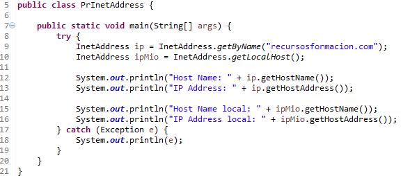 Ejemplo de uso en Java de la clase InetAddress