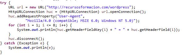 Ejemplo de uso de httpUrlConnection en Java