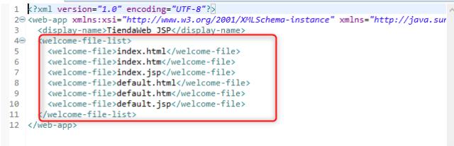 Contenido del fichero web.xml, segun lo ha generado Eclipse