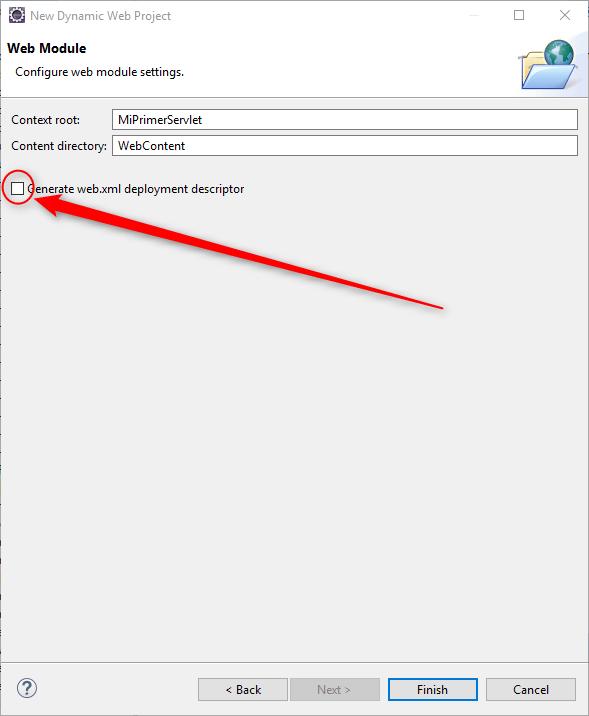 Pantalla de Eclipse para solicitar la creacion de web.xml