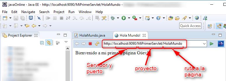Ejecucuin de servlet en servidor Eclipse-Tomcat