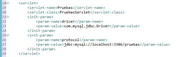 Detalle de la estructura del fichero web.xml