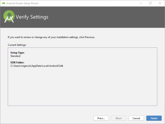 Fin configuracion Android Studio