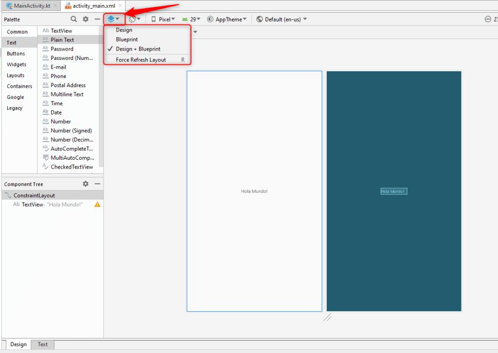 Seleccionar Design o Blueprint