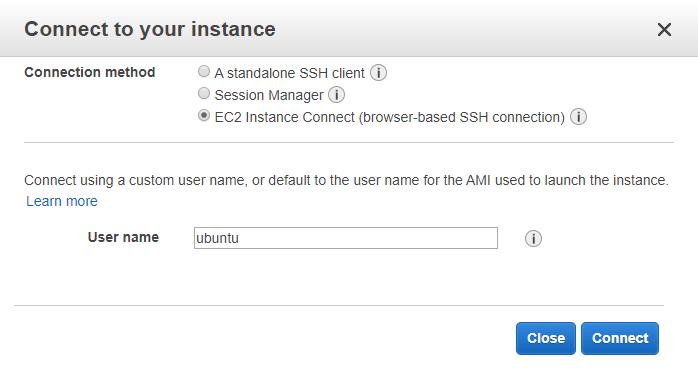 AWS. Pantalla de conexión por browser
