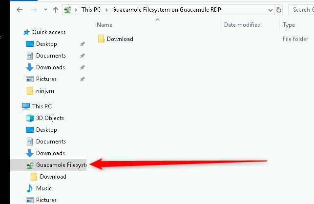 Compartir fichero con Guacamole
