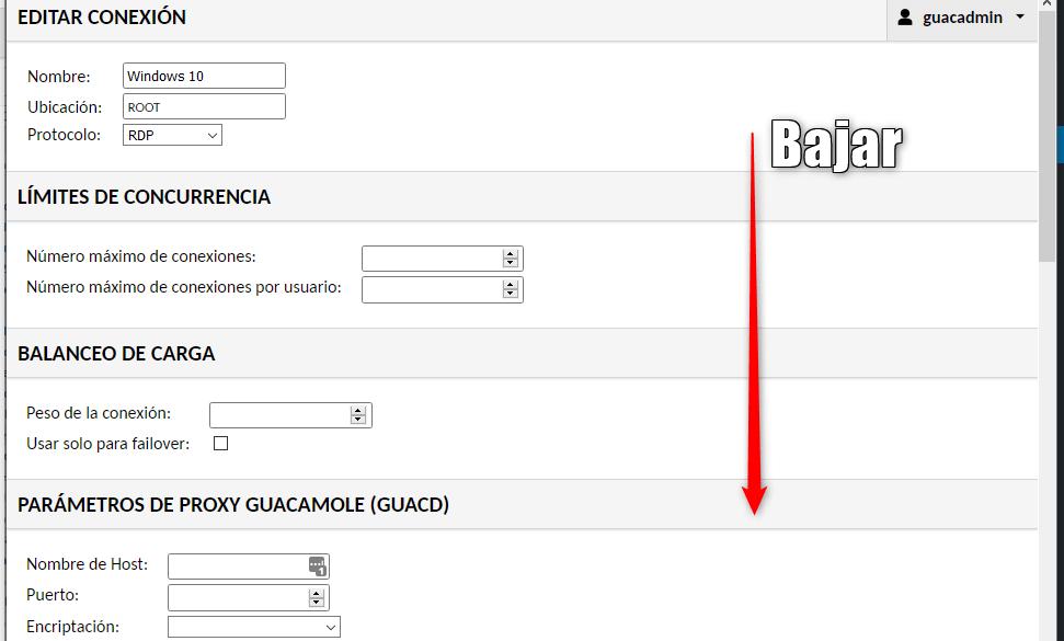 Pantalla mantenimiento Guacamole