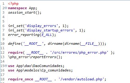 Cabecera PHP para el modulo de pruebas