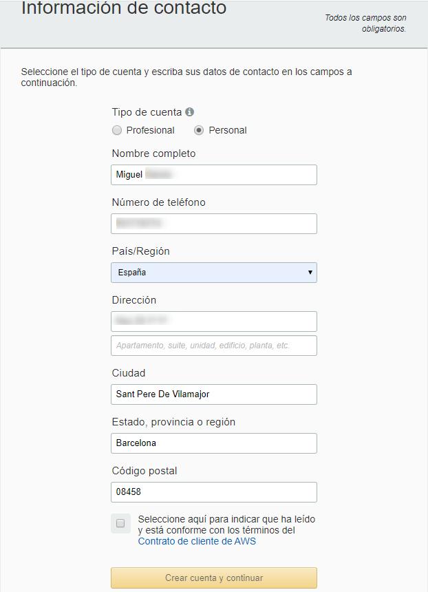 Completacion de datos de formulario para la cuenta de AWS