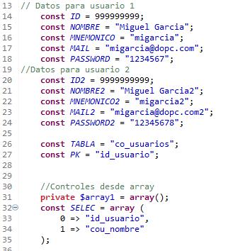 Listas de constantes para el test con phpunit
