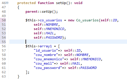 Metodo setup para un test con phpunit