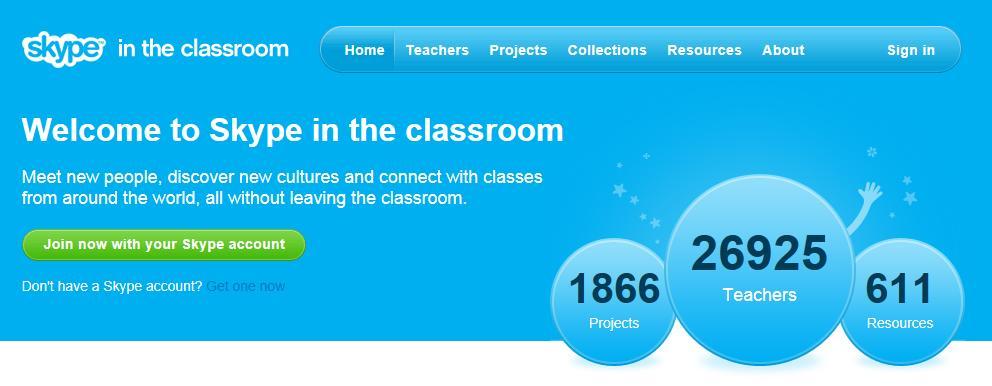 Página principal de Skype in the classroom