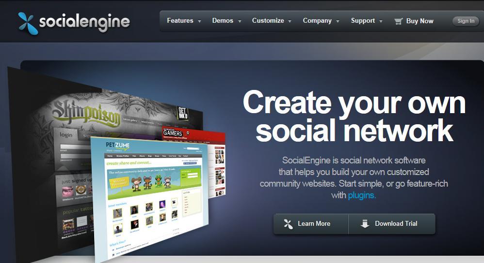 Página principal de Socialengine