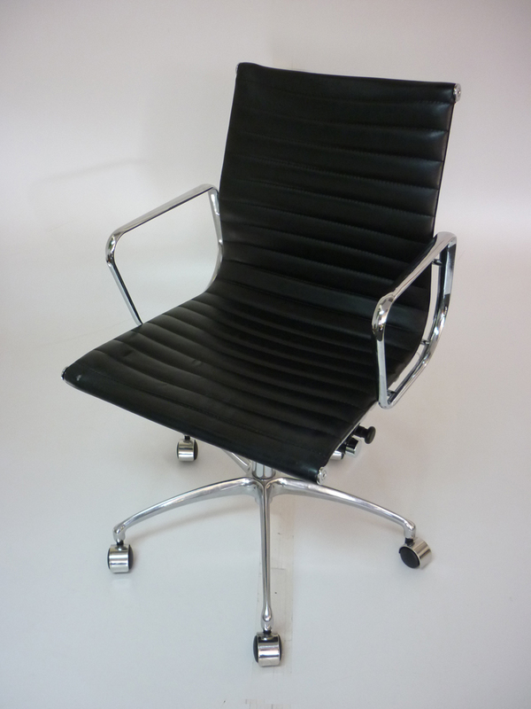 white swivel desk chair uk high back dining slipcovers replica vitra eames black leather   2nd hand
