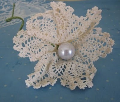 doily and pearl flower