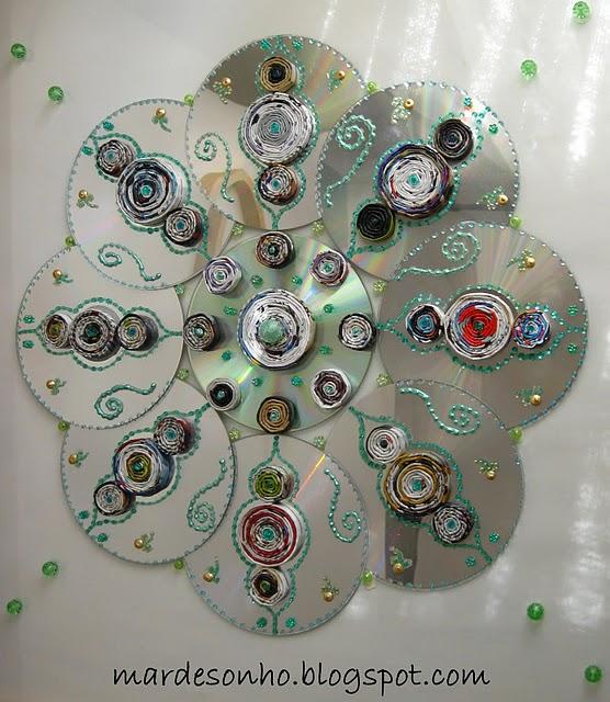 A Fun Recycled Cd Mandala Recycled Crafts