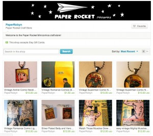 paper rocket comic jewelry