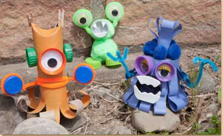 How to make recycled mini monsters