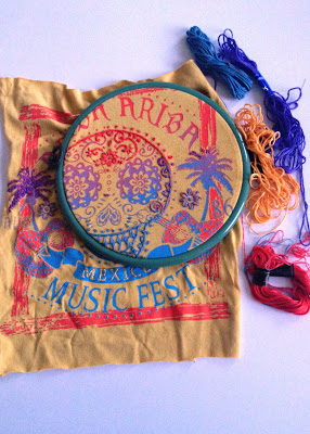 How to upcycle an old t shirt with embroidery overlay for Craft ideas for old t shirts