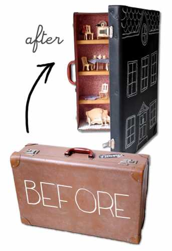 How to make a recycled suitcase dollhouse