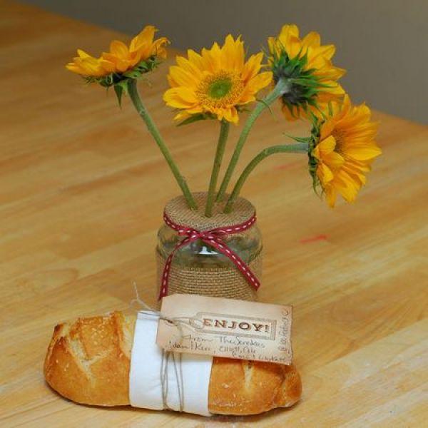 burlap flower jar vase