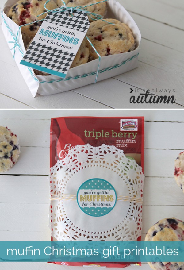 Great idea for packing food gifts and free printable