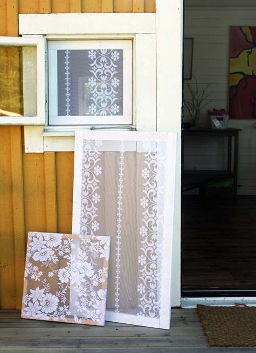 great idea for using lace curtains to make window screens recycled crafts. Black Bedroom Furniture Sets. Home Design Ideas