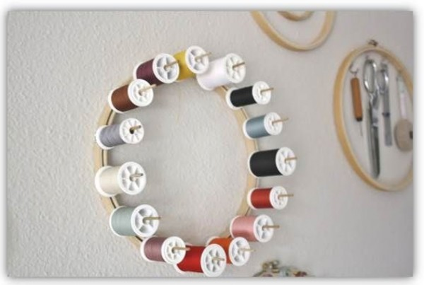 thread spool organizer embroidery hoop