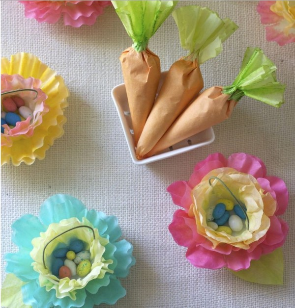 coffee filter easter basket carrots