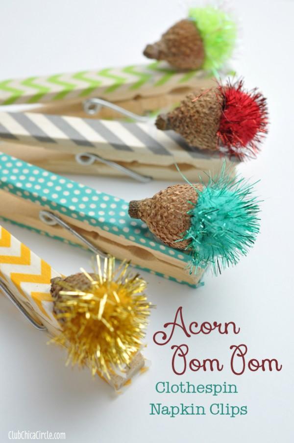 Acorn-Pom-Pom-Washi-Tape-Clothespin-Napkin-Clips