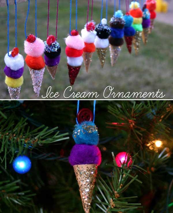 Pom Pom Ice Cream Cone Ornaments And 35 More Christmas