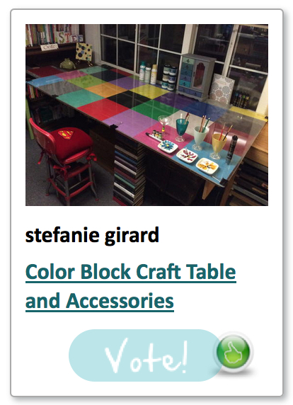 Color block craft table by Stefanie Girard