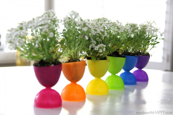 Plastic Easter eggs pots 4. How to make recycled Easter egg flower pots   Recycled Crafts