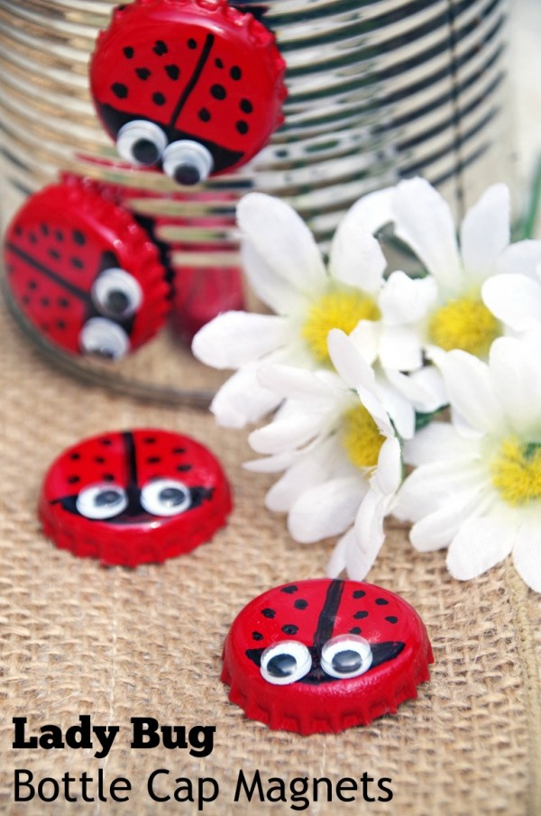 Recycled bottle cap lady bug magnets recycled crafts for Group craft projects for adults