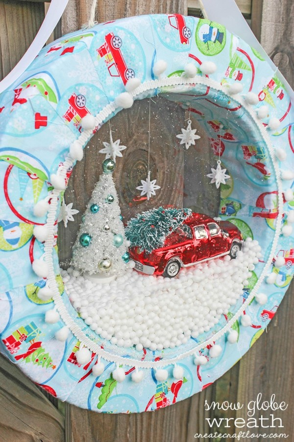 how to make a snow globe wreath recycled crafts