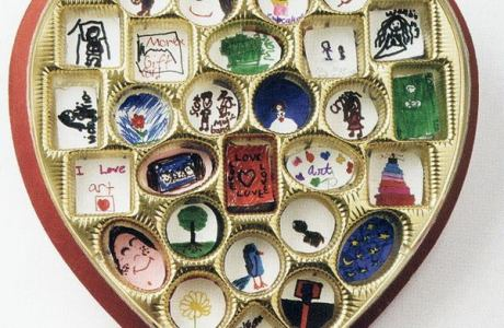 Art in a recycled candy heart box