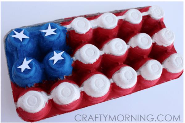 Recycled egg carton American flag