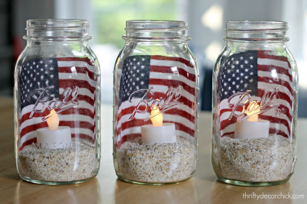 Easy recycle jar 4th of July decoration