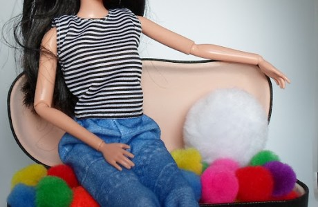 Barbie Love Seat from Eyeglass Case and Pom-Poms