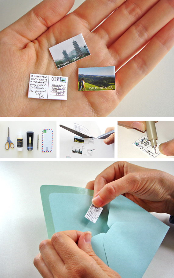 Make a miniature postcard from a recycled photo