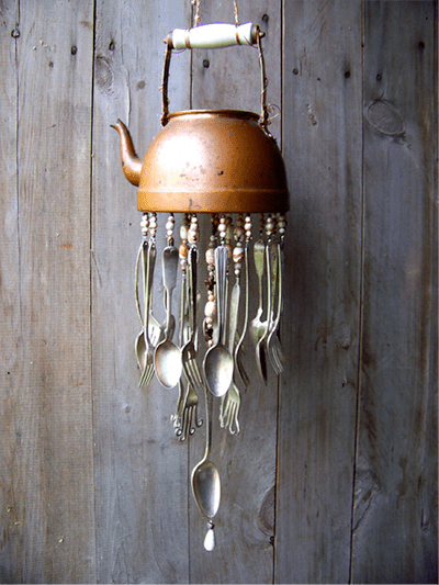 copper pendant light kitchen rustic islands ten incredible silverware reuse ideas   recyclenation