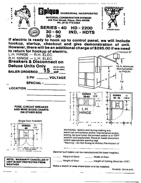 Hydraulic : Piqua Baler Manual