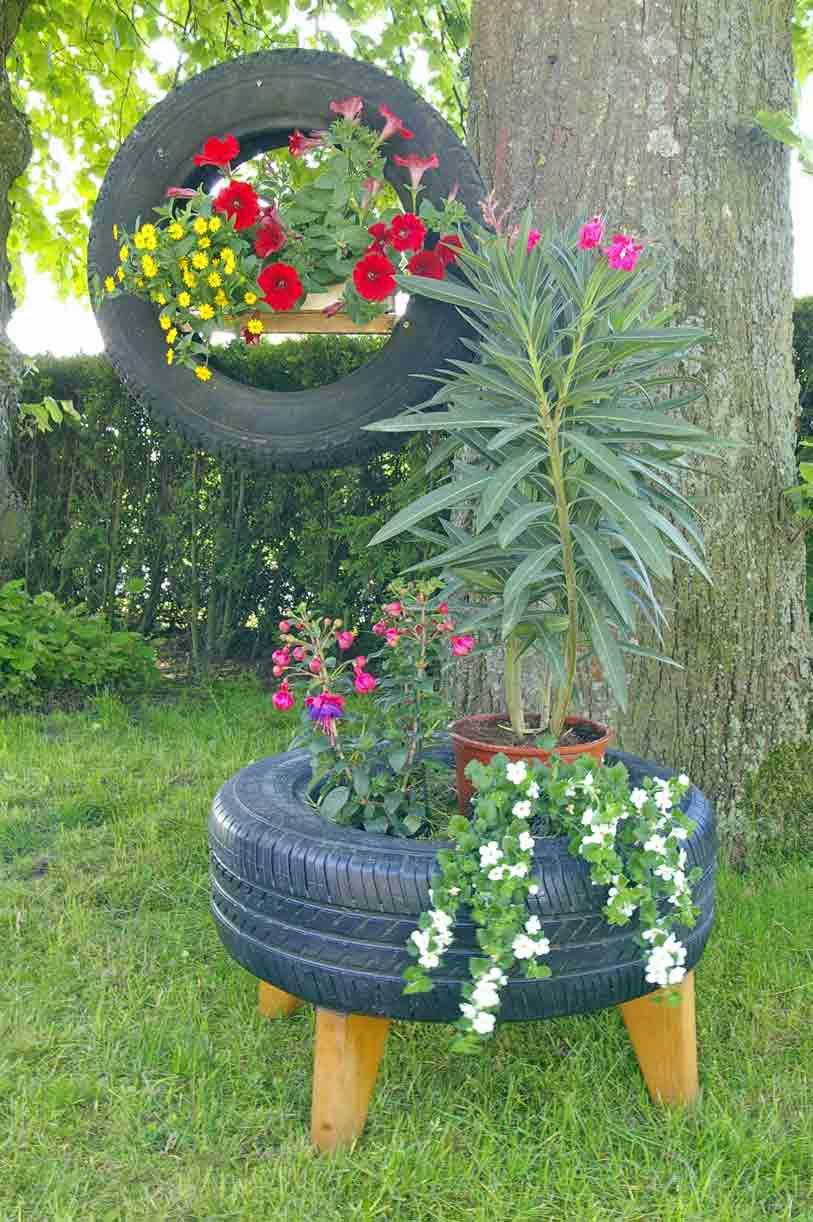 DIY Wieder neue RecyclingIdeen Autoreifen als Deko fr den Garten  Recyclingkunst und der