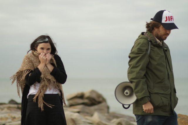 Laura Paredes y Mariano Llinás durante el rodaje.