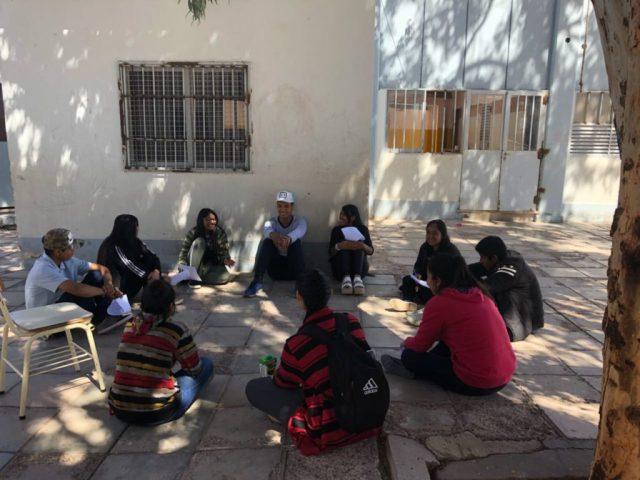 """Reunión de jóvenes de Fiambalá, en marzo pasado. Proyecto """"El Camino""""."""