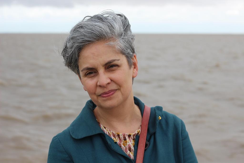 Claudia Fontes en el Parque de la Memoria, en el pasado abril. Foto: JS