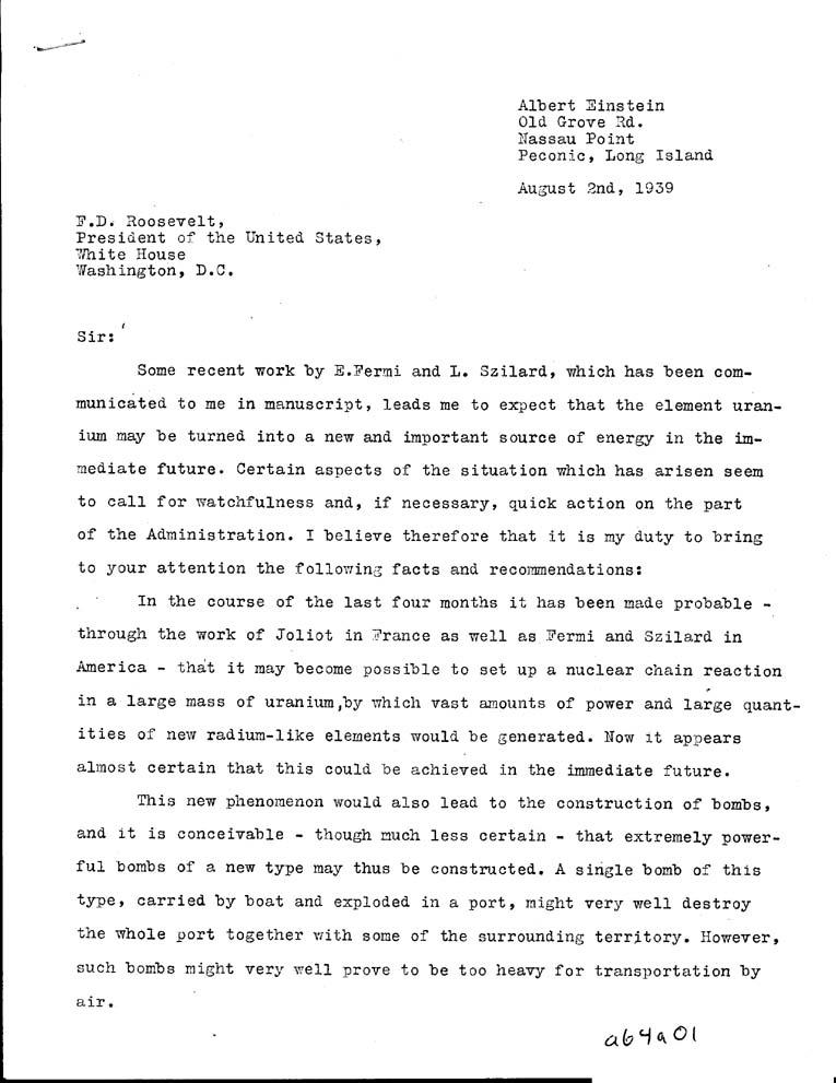 2 August 1939 Albert Einstein Schreibt Einen Brief