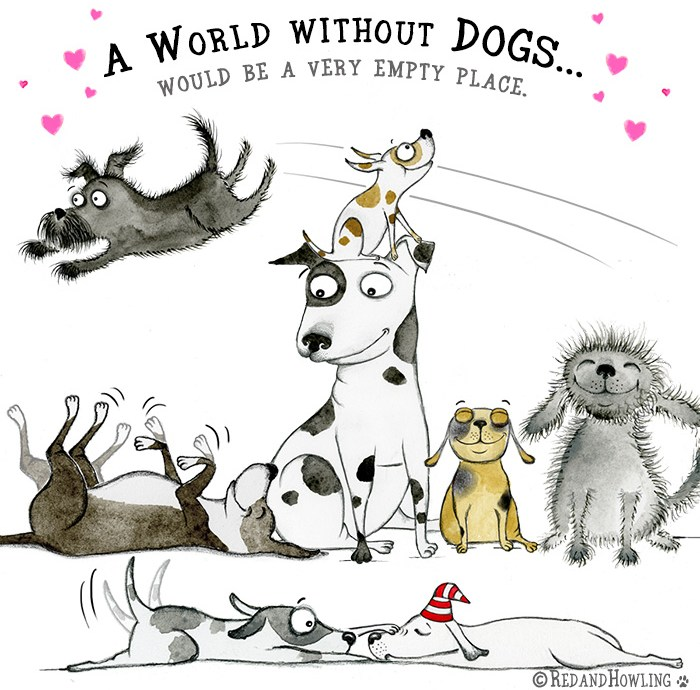 red and howling cartoons about dogs cats other animal friends
