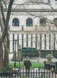 man in park in new york city